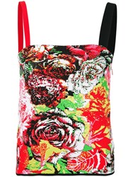 Versace Floral Jacquard Tank Top Red