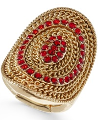 Style And Co. Gold Tone Red Crystal Mesh Stretch Ring Only At Macy's