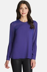 Women's 1.State Long Sleeve Sheer Panel Blouse