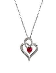Lord And Taylor Garnet Diamond Sterling Silver Heart Pendant Necklace Red