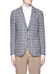 Lardini Check Wool Blend Boucle Soft Blazer Multi Colour