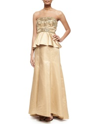 Sue Wong Strapless Beaded Bodice Peplum Gown