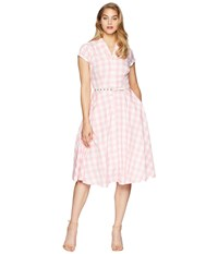 Unique Vintage Alexis Short Sleeve Swing Dress Pink Gingham