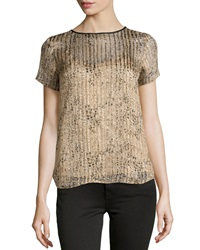 Ella Moss Spotted Shimmer Striped Blouse Taupe