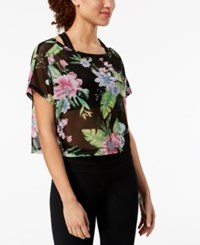 Material Girl Juniors' Printed Active Top Black Tropical