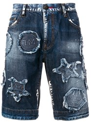 Philipp Plein Distressed Patch Denim Shorts Blue