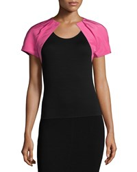 Monique Lhuillier Short Sleeve Pleated Bolero Magenta Pink