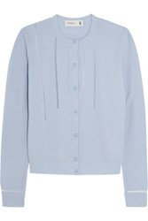 Pringle Of Scotland Tulle Trimmed Merino Wool Blend Cardigan Light Blue