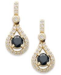 B. Brilliant 18K Gold Over Sterling Silver Black And White Cubic Zirconia Drop Earrings 1 3 8 Ct. T.W.