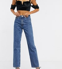 Asos Design Tall Florence Authentic Straight Leg Jeans In Vintage Midwash Blue