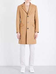 Sandro Single Breasted Wool Blend Coat Beige
