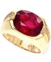 Effy Collection Effy Men's Ruby 7 5 8 Ct. T.W. And Diamond 1 8 Ct. T.W. Ring In 14K Gold