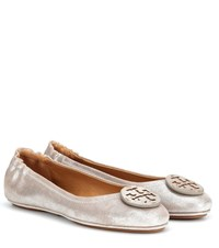 Tory Burch Minnie Travel Leather Ballet Flats Metallic
