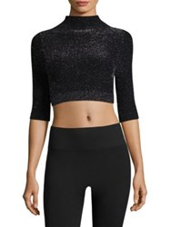 Phat Buddha Mock Neck Cropped Top Caviar