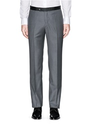 Isaia Grosgrain Trim Wool Pants Grey