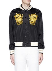 Alexander Mcqueen Skull Paisley Embroidered Satin Souvenir Jacket Black