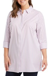 Foxcroft Plus Size Wanda In Summer Stripe Shirt Fresh Lilac
