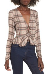 Afrm Amery Keyhole Top Plaid With Heart