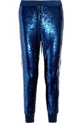 Ashish Lace Trimmed Sequined Silk Georgette Track Pants Royal Blue