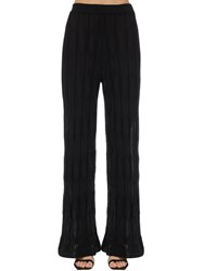 M Missoni Flared Wool And Viscose Knit Pants Black