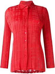 Issey Miyake Vintage Burned Out Pleated Shirt Red