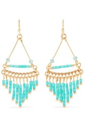 Kenneth Jay Lane Gold Plated Beaded Earrings Turquoise