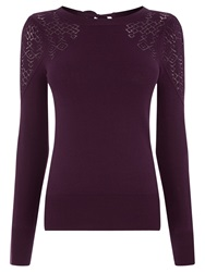 Oasis Victoriana Pointelle Top Burgundy