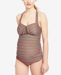 Motherhood Maternity Printed Tankini Swimsuit Multi Mini Stripe