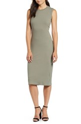 Bobeau Twist Back Midi Dress Army Green