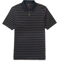 Dunhill Slim Fit Striped Cotton Polo Shirt Navy
