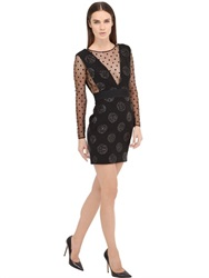 Emanuel Ungaro Polka Dot Mesh And Wool Twill Dress