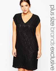 Carmakoma Sleeveless Lace Shift Dress With Keyhole Detail Black