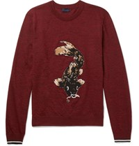 Lanvin Koi Carp Intarsia Wool Sweater Red