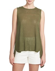 1.State Twisted Split Back Tank Top Green