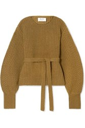 Sea Nellie Belted Ribbed Wool Sweater Light Brown