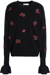 Sandro Embroidered Wool Sweater Black