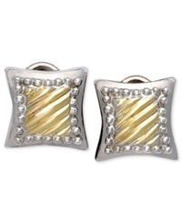 Macy's 14K Gold And Sterling Silver Earrings Square Cable