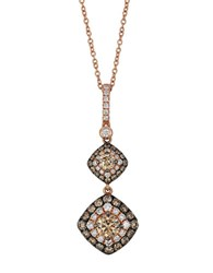 Le Vian 14K Strawberry Gold Chocolate And Vanilla Diamond Drop Pendant Necklace Diamond Rose Gold