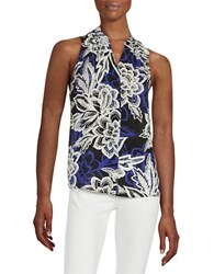 Lord And Taylor Sleeveless Tropical Blouse Black