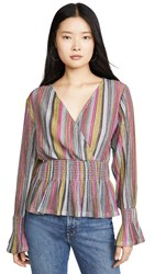 Kendall Kylie Smocked Waist Top Yellow Pink