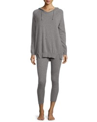Neiman Marcus Cashmere Hoodie And Ribbed Legging Set Berry