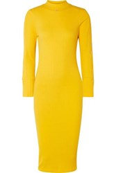 Courreges Ribbed Stretch Cotton Dress Yellow