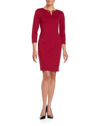Ivanka Trump Three Quarter Sleeve Sheath Dress Ruby Red