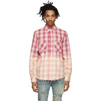 Amiri Red And Pink Lurex Plaid Shirt