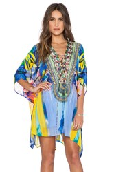 Camilla Short Lace Up Kaftan Blue