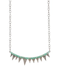 Bavna Emerald And Diamond Spike Necklace