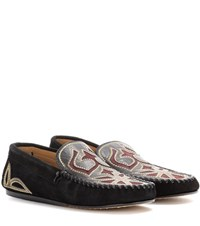 Isabel Marant Etoile Finha Embroidered Suede Loafers Black