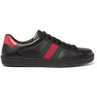 Gucci Ace Snake Trimmed Leather Sneakers Black