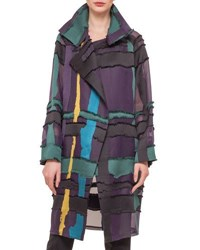 Akris Glen Plaid And Fringed Satin Jacquard Coat Multi Colors