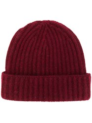 Pringle Of Scotland Ribbed Cashmere Beanie Red